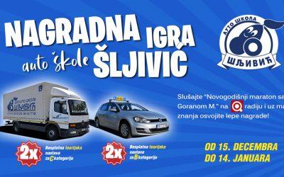 Nagradna igra Auto škole Šljivić od 15. decembra do 14. januara